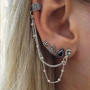 Bohemian beach wind chain drop earrings set